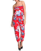 Women - Ruffled Tube Top Floral Print Jumpsuit