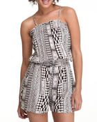 Fashion Lab - Straps Smocked Aztec Print Pockets Romper