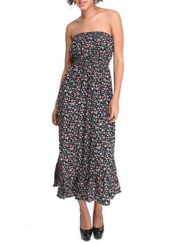 Fashion Lab - Smocked Shali Ditsy Print Maxi