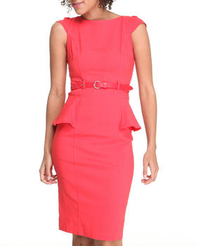 XOXO - Cap Sleeve Peplum Belted Dress