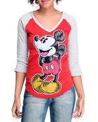 Tops - Lino Cut Mickey3/4 Sleeve Tee