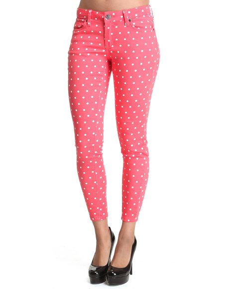 Basic Essentials - Women Pink Crop Poka Dot Jean Pants