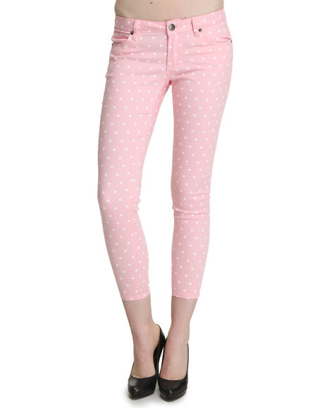 Basic Essentials Women Pink Crop Polka Dot Jean Pants