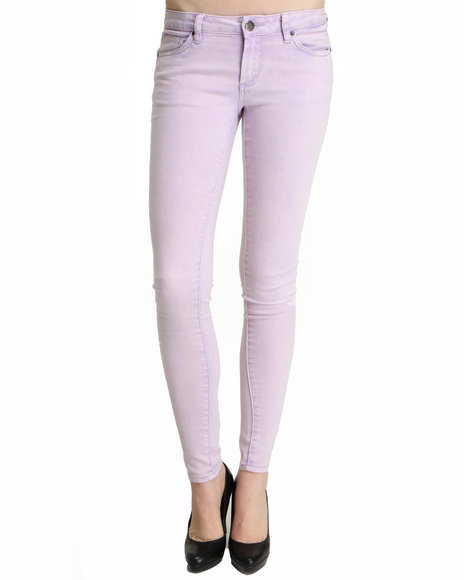 Basic Essentials - Women Purple Acid Wash Skinny Jeans