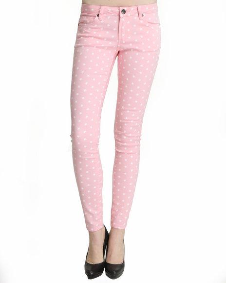 Basic Essentials - Women Pink Star Print Skinny Jeans