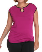 Tops - Short sleeve color blocked detail top (plus)