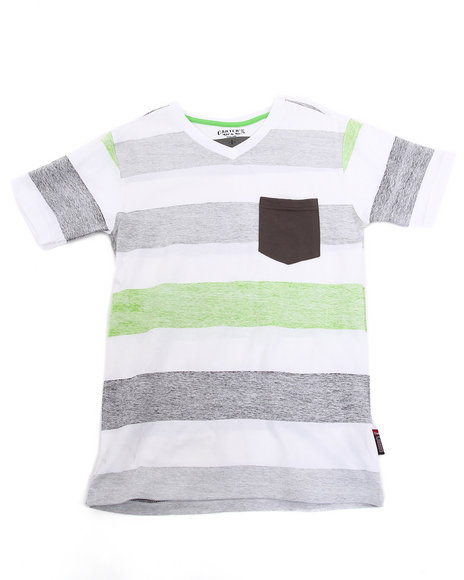 Arcade Styles Boys Lime Green Striped V-Neck Tee W/ Pocket (8-20)