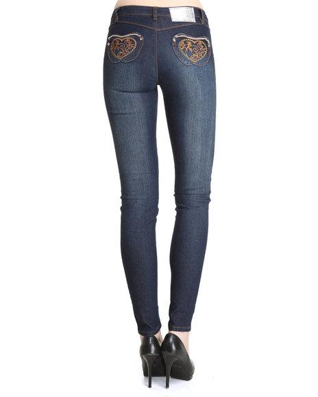 Apple Bottoms Women Dark Wash Embroidered Pocket Distressed Skinny Jean