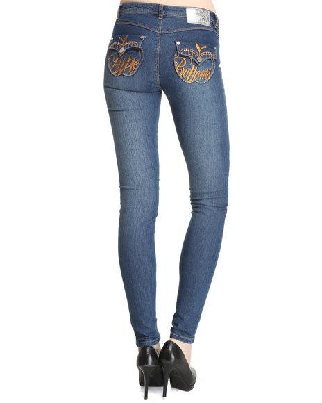 Apple Bottoms Women Light Wash Snap Lapel Pocket Skinny Jean