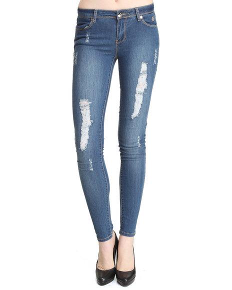 Apple Bottoms Women Light Wash Embroidered Pocket Distressed Skinny Jean