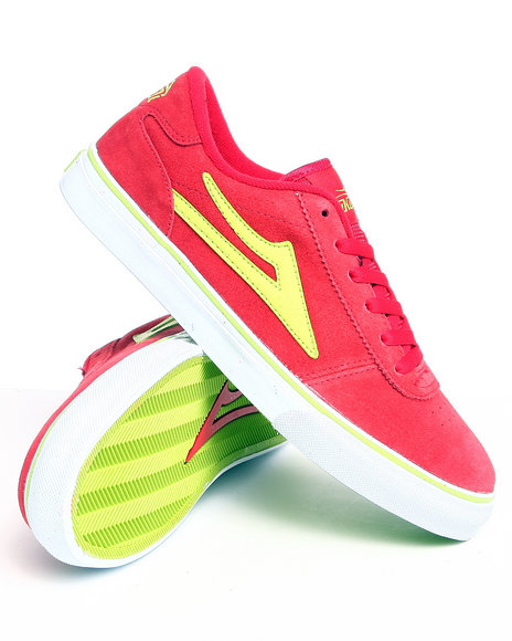 Lakai Men Red Manchester Red/Lime Suede Sneakers