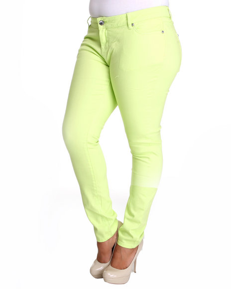 Basic Essentials Women Lime Green,Yellow Basic 5 Pocket Skinny (Plus)