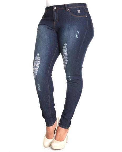 Apple Bottoms Women Dark Wash Embroidered Pocket Distressed Skinny Jean (Plus Size)