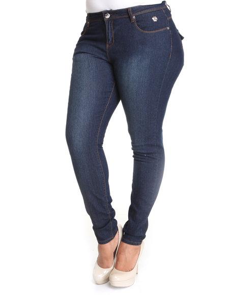 Apple Bottoms Women Dark Wash Snap Lapel Pocket Skinny Jean (Plus Size)