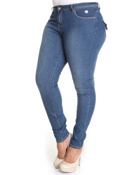 Apple Bottoms Women Light Wash Snap Lapel Pocket Skinny Jean (Plus Size)