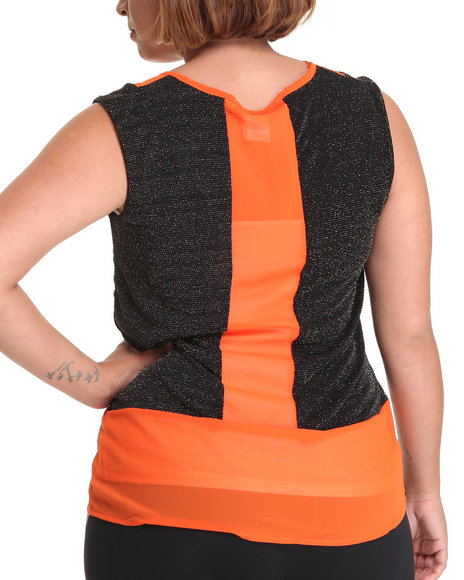 Basic Essentials Women Orange Chiffon Sleeveless Top  (Plus)