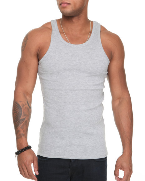 Basic Essentials - Men Grey Basic Tank Top