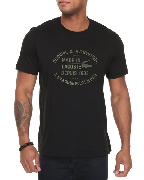 Lacoste Men Black S/S Jersey Embroidered Croc Tee