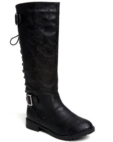 Fashion Lab Women Black Lace-Up Military Boot