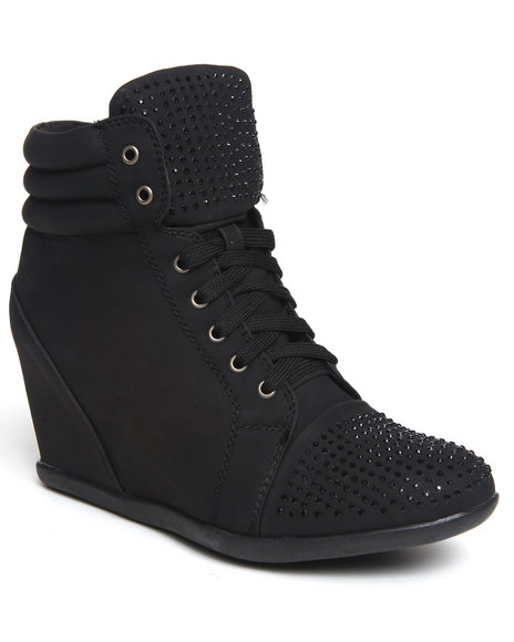 Fashion Lab - Women Black Kasmira Sneaker Wedge W/Studs