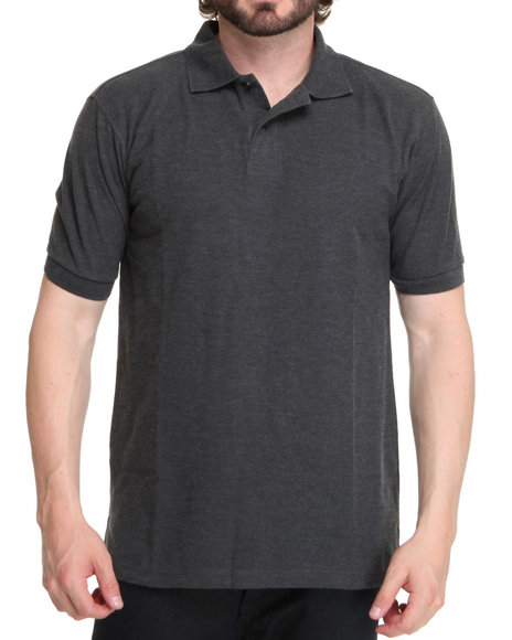 Buyers Picks Men Charcoal Solid Basic Pique Polo Shirt