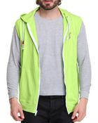 Men - Solid French Terry Zip Hoody Vest