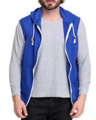 Vests - Solid French Terry Zip Hoody Vest