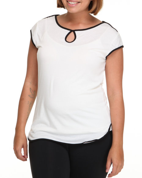 Basic Essentials Women Cream Short Sleeve Color Blocked Detail Top (Plus)