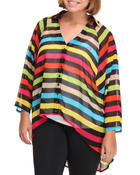 Tops - Striped Cut-Out Back Chiffon Blouse (Plus)