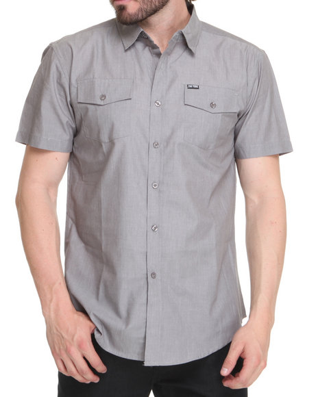 Zoo York Men Grey Toll Road Short Sleeve Woven Shirt