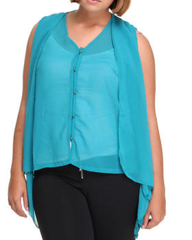 Basic Essentials - Chiffon sleeveless top w/back detail (plus)