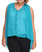 Tops - Chiffon sleeveless top w/back detail (plus)