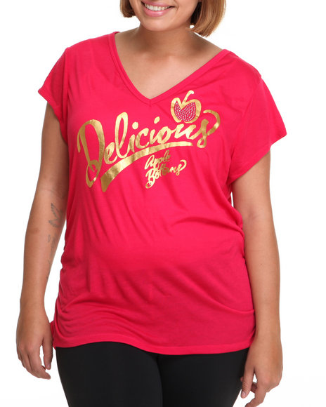 Apple Bottoms Women Red Delicious Logo V-Neck Tee (Plus Size)