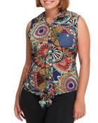Polos & Button-Downs - Printed Front Solid Back Sleeveless Top (Plus)