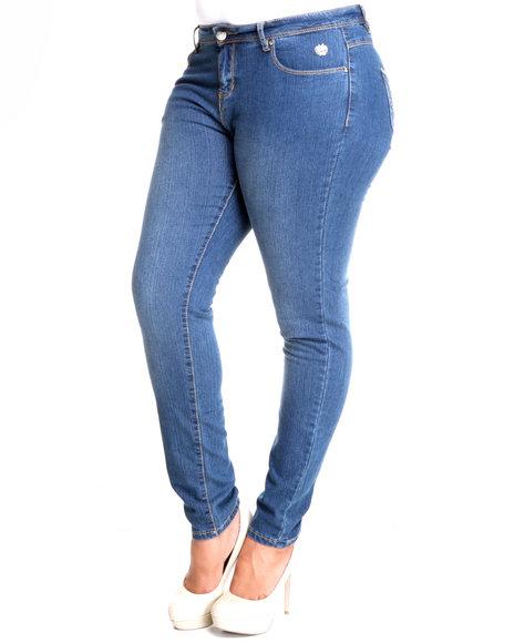 Apple Bottoms Women Light Wash Stud Trim Pocket Skinny Jean (Plus Size)