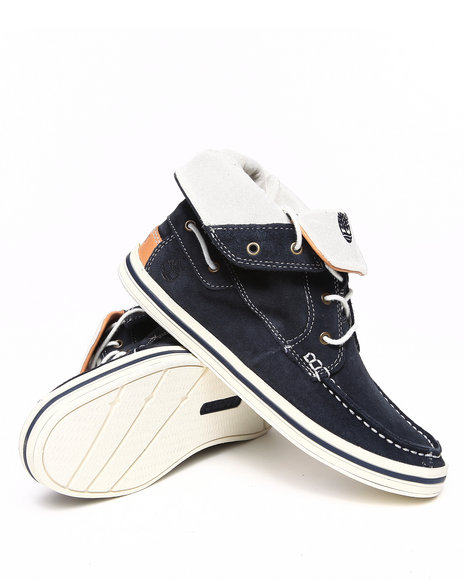 Timberland Boys Navy Earthkeepers Casco Bay Roll Top Chukka Shoes (Gs)