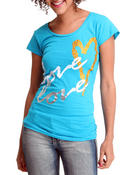 Women - Love Love Heart Tee w/foil studs