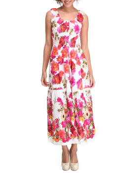 Fashion Lab - Smocked Button Front Floral Dress