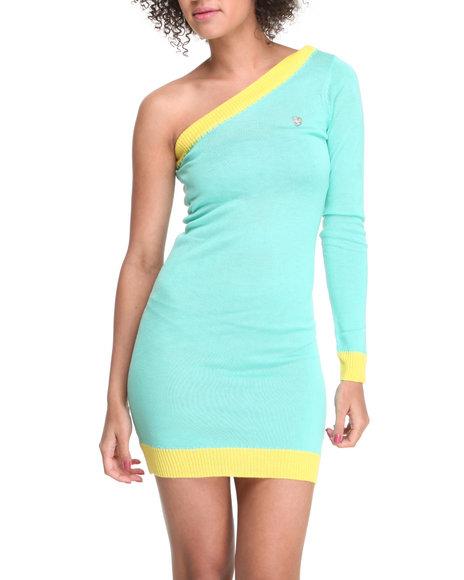 Apple Bottoms Women Teal One Shoulder Contrast Hem Sweater Dress