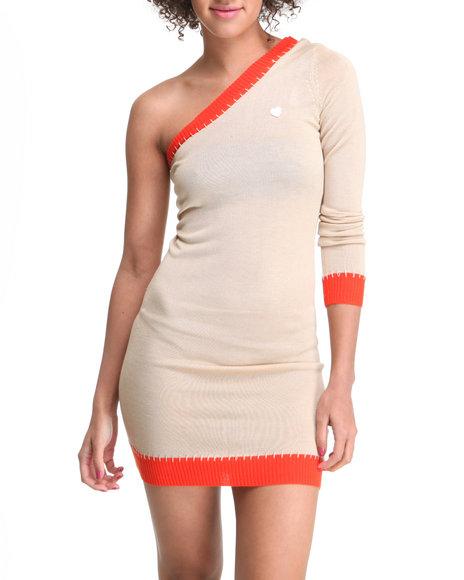 Apple Bottoms Women Tan One Shoulder Contrast Hem Sweater Dress