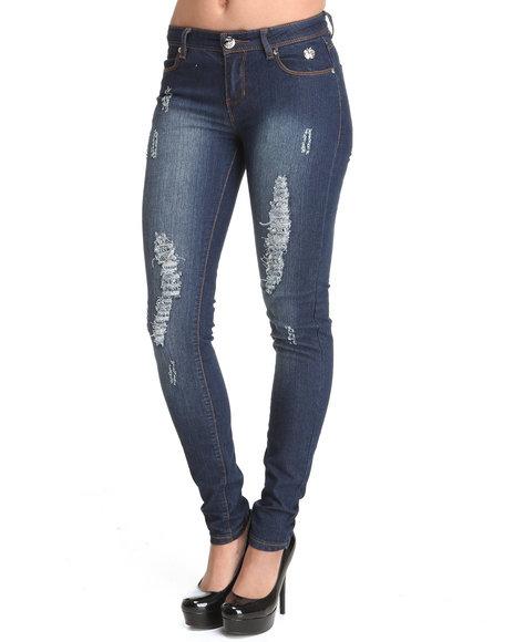 Apple Bottoms Women Dark Wash Logo Initials Pocket Distressed Skinny Jean
