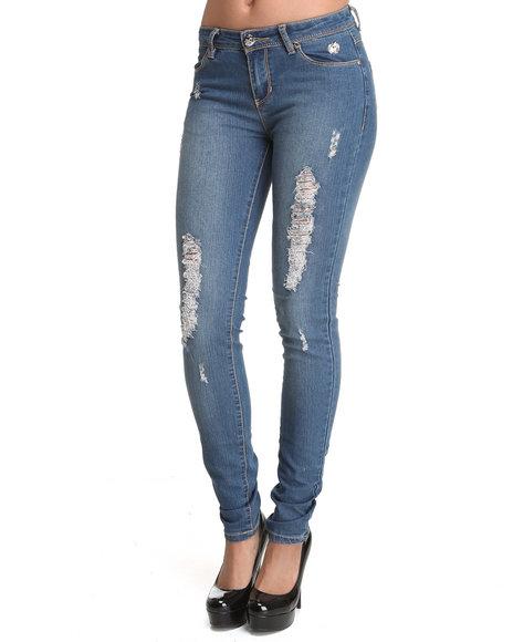 Apple Bottoms Women Light Wash Logo Initials Pocket Distressed Skinny Jean