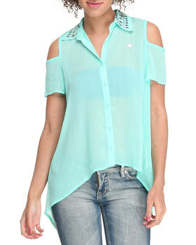 Apple Bottoms - Cold Shoulder Embellished Collar Chiffon Top