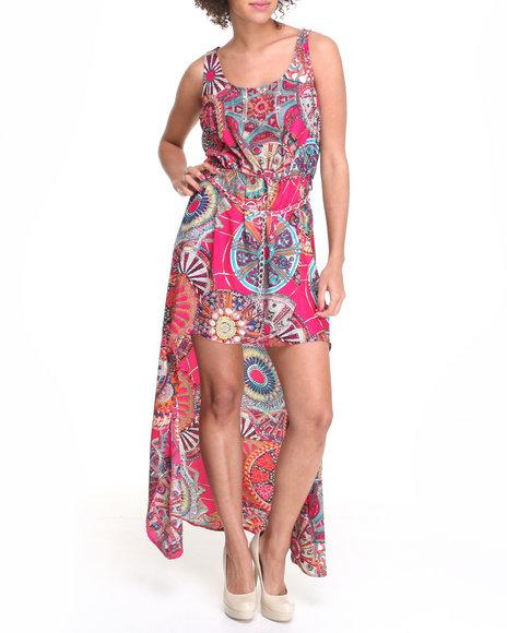 Apple Bottoms Women Multi,Red High Low Hem Printed Chiffon Dress