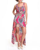 Women - High Low Hem Printed Chiffon Dress