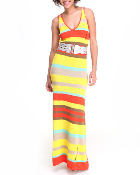Apple Bottoms Women Yellow Pinstriped Belted Maxi Dress
