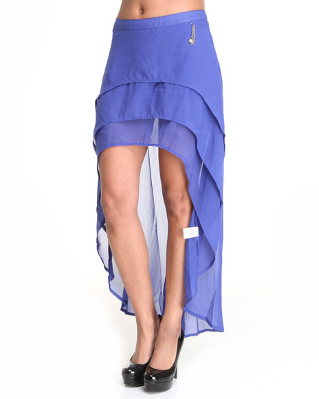 Apple Bottoms Women Blue High Low Hem Layered Solid Chiffon Skirt