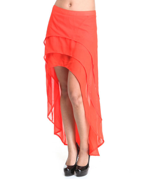 Apple Bottoms Women Red High Low Hem Layered Solid Chiffon Skirt
