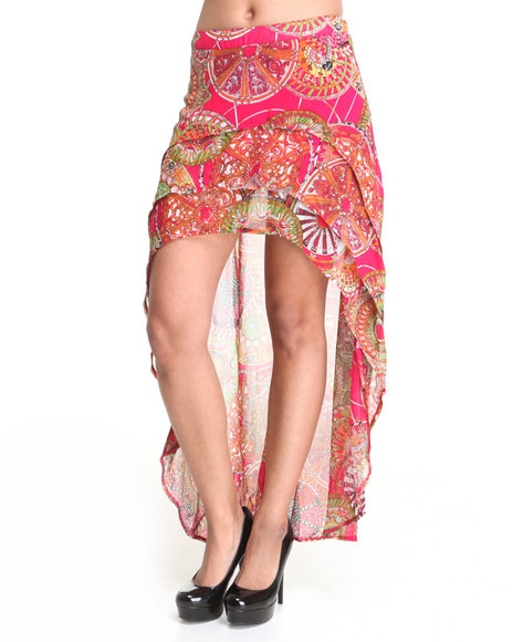 Apple Bottoms Women Multi High Low Hem Printed Chiffon Skirt