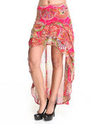 Women - High Low Hem Printed Chiffon Skirt